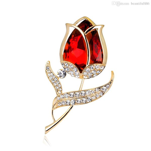 Popular Garment Accessories Fashion Crystal Red Rose Flower Brooch Pin Rhinestone Alloy Rose Gold Brooches For Women Birthday Gift