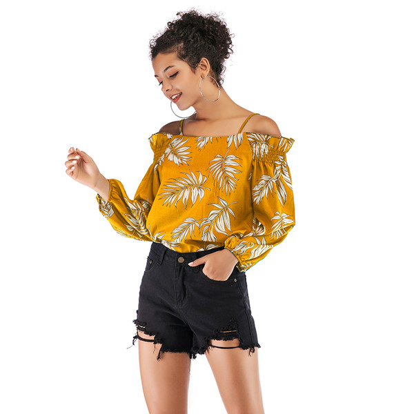 Ladies Printed Tops Off Shoulder Backless Sexy New Design Full Sleeve Casual Style Leaves Pattern M-XL Women T-Shirt