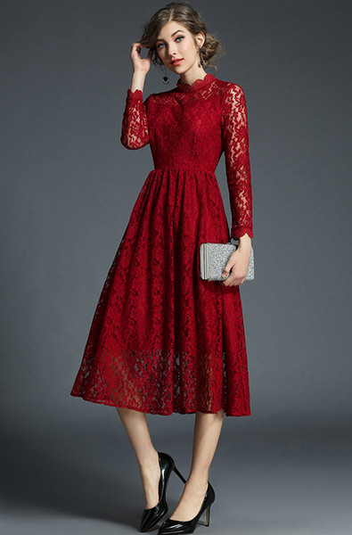 New 2019 Long Sleeve Spring Red Women's Retro Red Lace Crochet Hollow Out Flower Clothing Slim Party Midi Fit And Flare Dress Plus Size