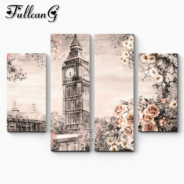 wholesale 4 piece diy diamond painting london clock tower & rose full square/round drill 5d mosaic embroidery multi-picture FC745