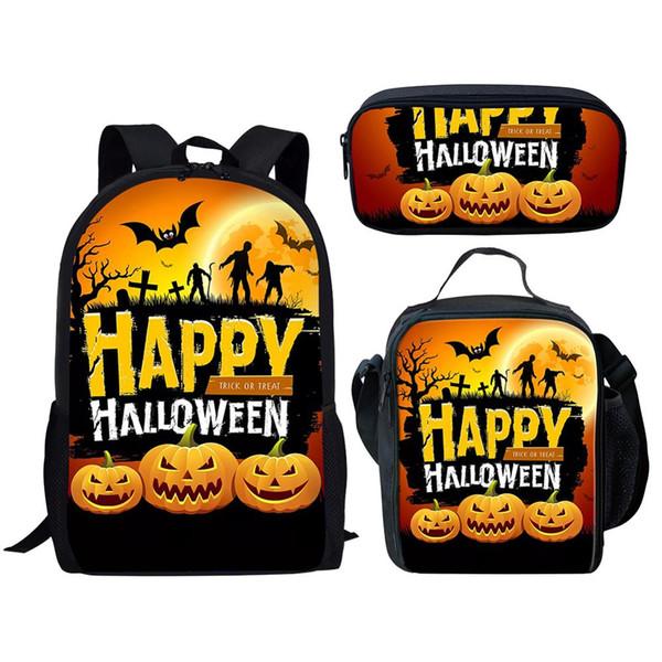 Dropship Mochila / Escuela Set 3 piezas Bolsa de niños de dibujos animados de Halloween Jack-o'-lantern impresión Schoolbag las muchachas del muchacho Bookbag mejor regalo