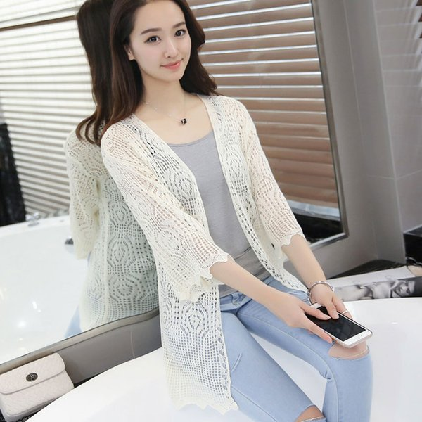 Enkofofo Cardigans New Spring Silk Cotton Knitted Women Loose three quarter Sleeve long Thin Cardigan Sweater