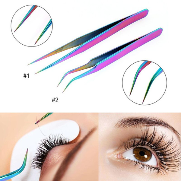 top popular Stainless Steel Straight Curved Eye Lashes Tweezers Rainbow Colored False Fake Eyelash Extension Nippers Pointed Clip Profession 2021