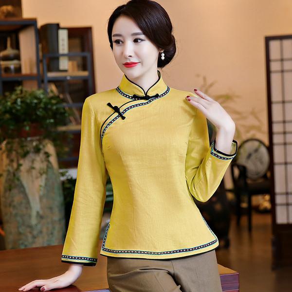 Mulheres Chinesas do vintage de Algodão Camisa de Linho Handmade Botão Blusa Clássico de Manga Longa Roupas de Tang Top Flor Tamanho S M L XL XXL