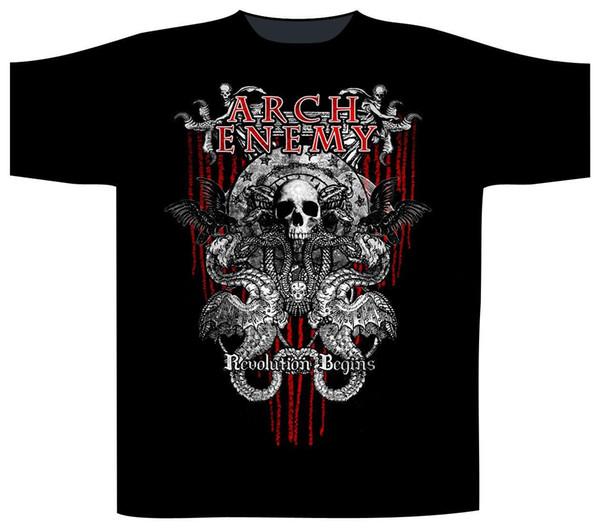 Футболка Arch Enemy 'Revolution' - новый чиновник! Лето с коротким рукавом рубашки топы S~3Xl большой размер хлопок тройники Бесплатная доставка