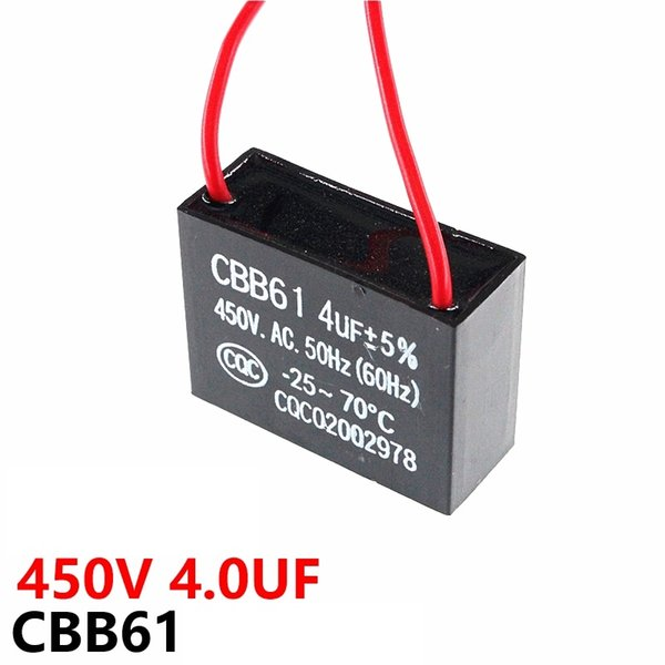 CBB61 fan starting capacitor 450VAC 4UF with line capacitance lead length 10CM