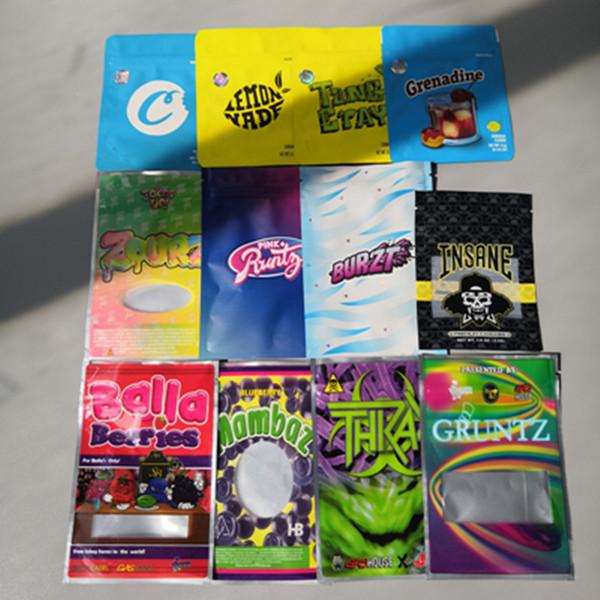 top popular Grenadine RUNTZ INSANE BAG 3.5g ZOURZ SHARKLATO BURZT THKAX Smell Proof Bags Vape Packaging for Dry Herb Vaporizer with 6kinds mylar bag 2021