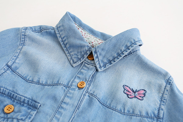 Everweekend Girls Butterfly Floral Embroidered Denim Blouses Lovely Kids