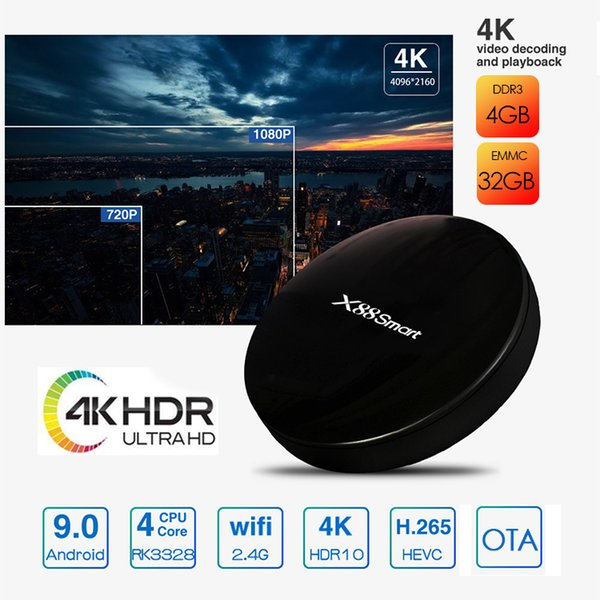 Android 9.0 TV Box 4GB RAM 32GB ROM Quad Core CPU X88 smart tv box Support smart tv and support iptv player