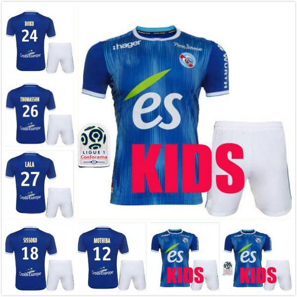 19 20 maillot de foot RC STRASBOURG ALSACE KIDS KIT camisetas de fútbol 2019 2020 local DJIKU THOMASSON LALA MOTHIBA SISSOKO CHILD camiseta de fútbol