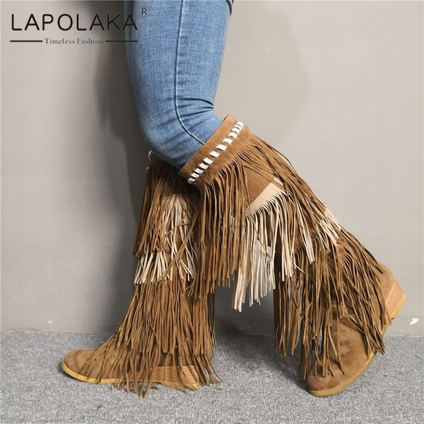 Lapolaka Luxury Big Size 35-47 Retro Wedges Heels Shoes Woman Leisure Party Autumn Winter Fringes Western Boots Women Shoes 2019