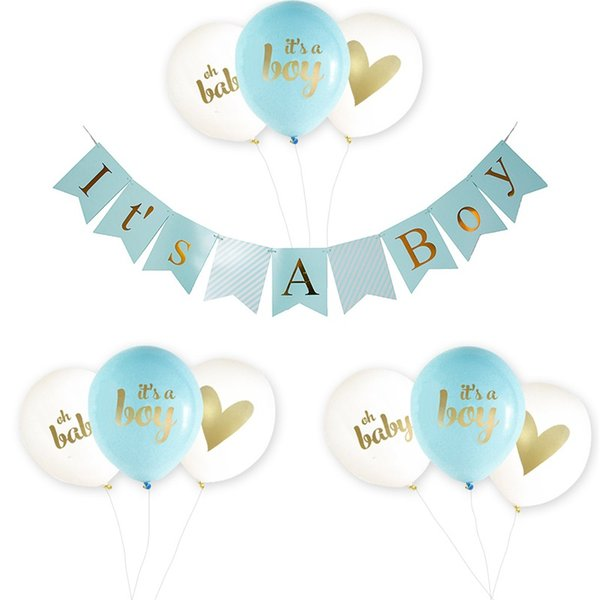 Es ist ein Junge Mädchen Baby Dusche Luftballons Papier Banner Rosa Blau Vergoldung Ballon Kind Mode Geburtstag Party Dekoration 18pmD1