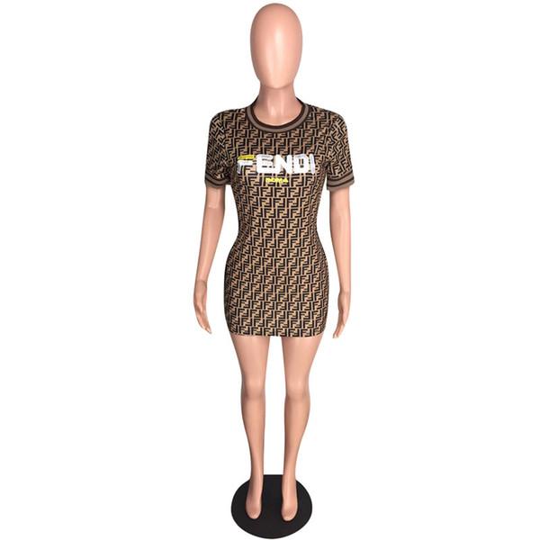 Donne FF Bodycon Abiti Lettere Stampa T-Shirt manica corta Abiti Estate Gonna corta Work Club Abbigliamento Party Wear S-2XL C43008