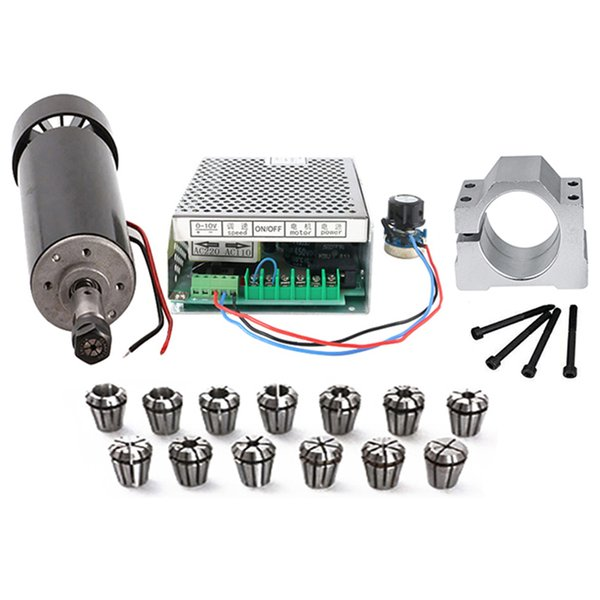 Moteur de broche refroidi par air de broche de commande numérique par ordinateur 500W Alimentation de 500W 100V / collet Er11 pour la gravure