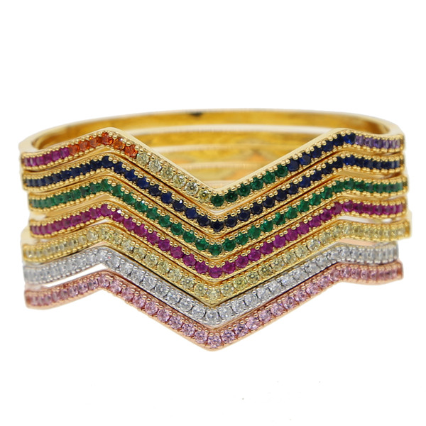 7 colors tiny micro pave red green blue cz wave charm delicate girl gift dainty chain 2019 valentines gift simple rainbow bracelet