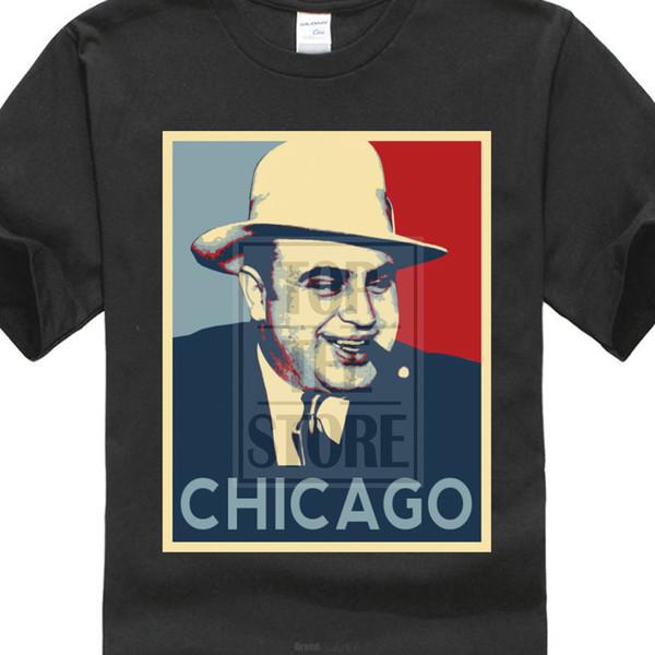2017 Mais Novo Engraçado T Camisa Homme Al Capone Italiano Gangster Chicago Esperança Obama Curto-Camisa de Manga T Para Homens