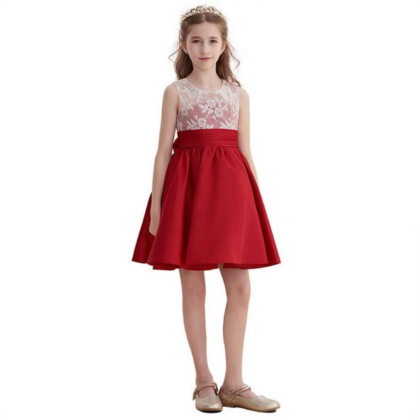 Bugundy White Lace Flower Girl Dresses Sleeveless Knee Length Jewel Neck Formal Kids Holiday Prom Party Dresses