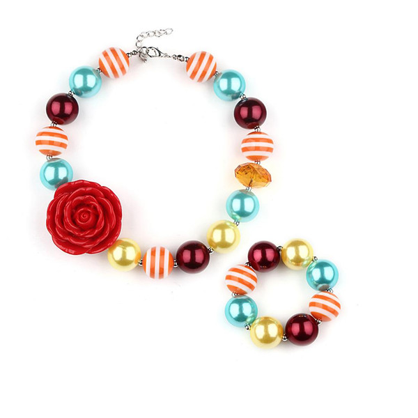 Bohemian Children Girl's Coloured Beads Necklace and Bracelet Kit Flor Roja Resina Colgante Conjunto de Joyas Collar de Bebé Pulsera