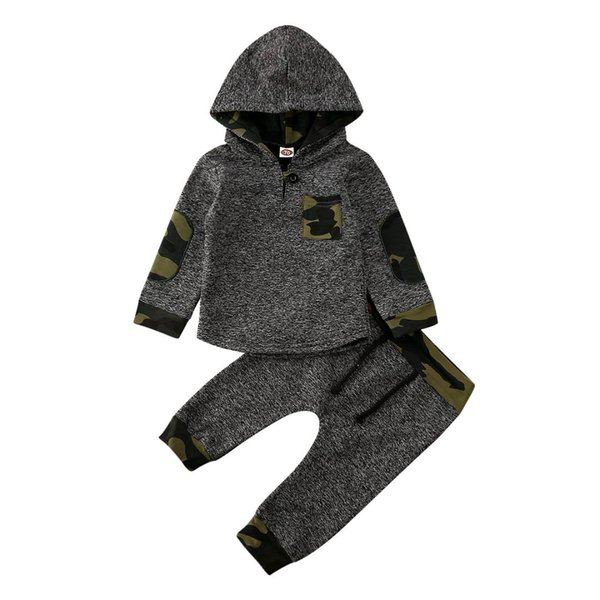 2020 Spring Autumn 2Pcs Baby Girls Boys Tracksuit Infant Hooded Tops Pants 3-36M Toddler Kids Warm Outfits Sets Clothes