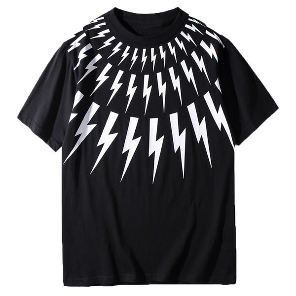 Lüks Tasarımcı T Gömlek Siyah Beyaz Yıldırım Baskı Kısa Kollu Tasarımcı Gömlek Erkek Kadın Yaz T Shirt Unisex Tees Boyut S-XXL