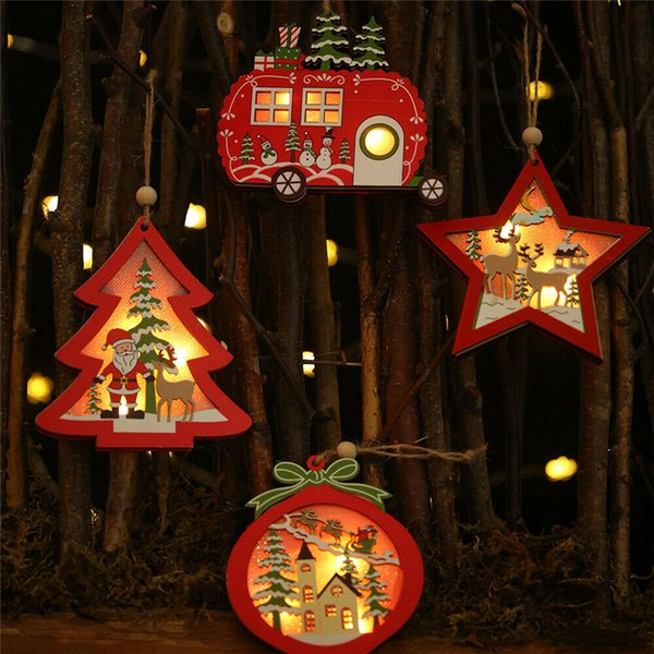 Christmas Pendant Decorations Wooden Drop Ornament Xmas Party Christmas Tree Hollow Led Light House Christmas Decoration House Christmas Decorations