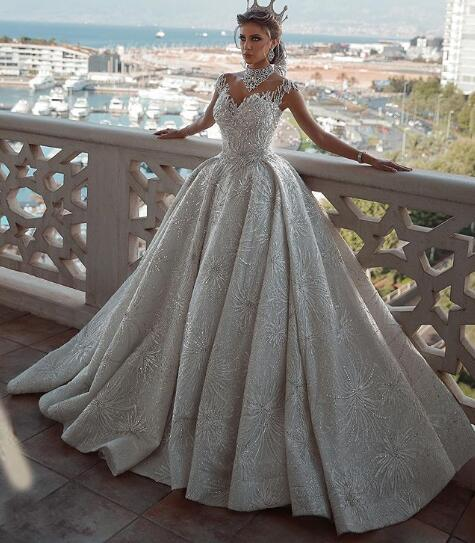 Vestidos De Noiva 2020 High Neck Luxury Arabic Wedding Dresses Said Mahamaid Capped Sleeves Open Back Sequins Floral Cathedral Bridal Gowns