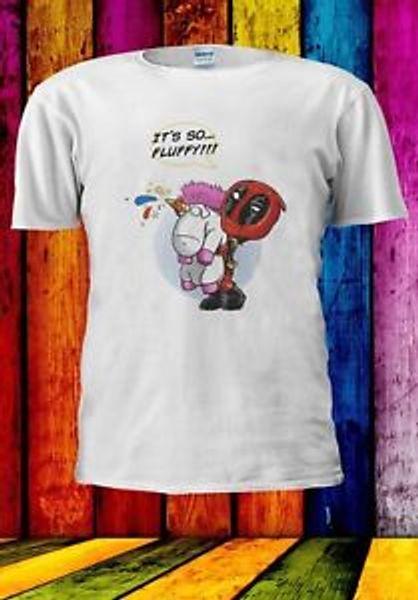 Deadpool Unicorn Rainbow It's New Fluffy Funny Men Women Unisex T-shirt 925