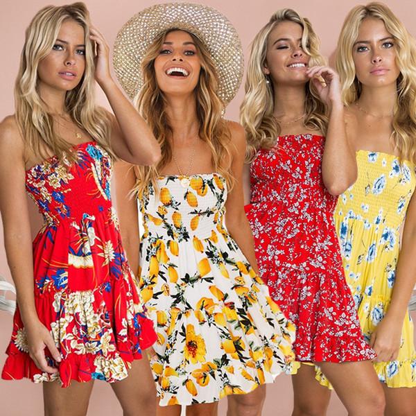 designer women dress brand 2019 new summer ruffle flower dress luxury sexy wrapped chest mosaic lemon print ruffled dress