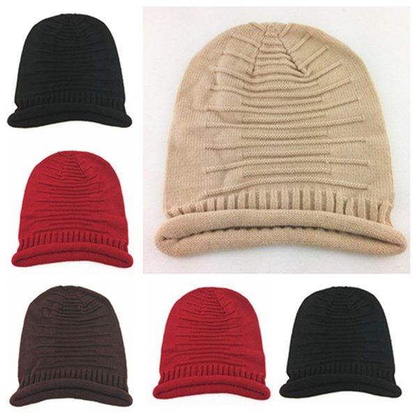 les hommes et les femmes chauds crâne Bonnet dames chapeau WinterWool doux pli Beanies Cap décontracté en plein air chaud Tricoté Ski Cap Party HatsT2C5107