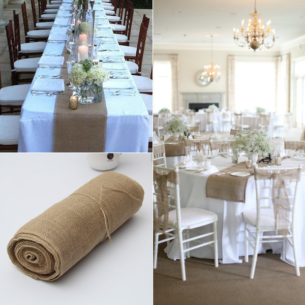 30cmx10m Vintage Natural Burlap Jute Linen Wedding Table Runner Christmas Cloth Dinning Room Restaurant Table Gadget Home Decor Q190430