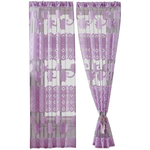 Flower Vine Peony Cortina corta Cortina perforada de una sola pieza para sala de estar Drape Panel Sheer Voilage