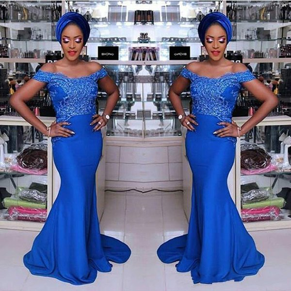Modest African Mermaid Evening Dresses Nigerian Applique 2019 Off Shoulder Party Gowns Formal Robe De Soiree Plus Size Prom Dresses Pageant