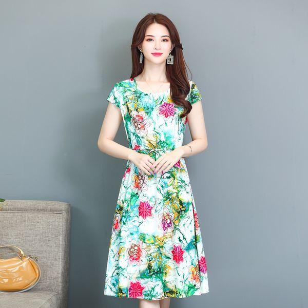 Compre Vestido De Seda De Algodón Para Mujeres De Mediana Edad Falda Floral Delgada De Manga Corta De 40 50 Años A 2312 Del Liang1992432536