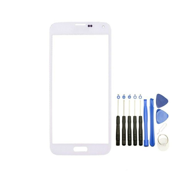 High Quality Front Outer Touch Screen Glass Lens Replacement for Samsung Galaxy s5 i9600 with Tools