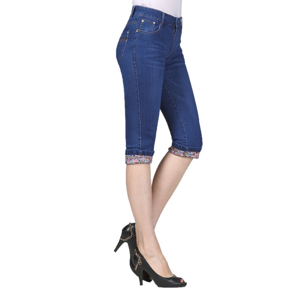 Women Casual Slim Fit Cropped Jeans Pants Summer Woman Leisure Denim Crop Trouser Blue Jeans Plus Size Pantalone Mujer Plus Size