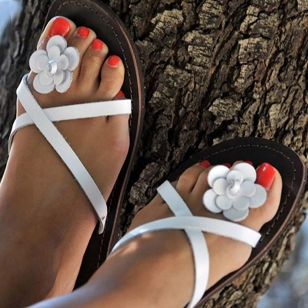 Mujeres Bohemia Zapatos de verano coloridos Sandalias de playa planas Flor Zapatillas de cuero lindas Tallas grandes para mujer