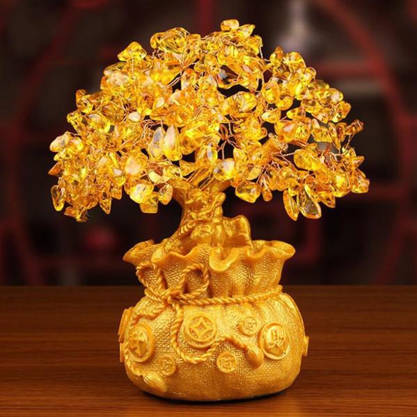 Resina oro ricco di figurine albero creativo famiglia ornamenti in rame stile cinese monete regali artigianato spedizione gratuita