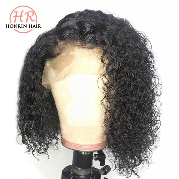 Lace Front perruque Bob Curly de dentelle perruque profonde brésilienne Vierge Cheveux bouclés Pré plumé Hairline 150% Densité avec bébé Hairs