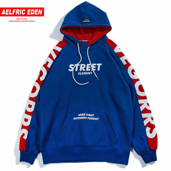 2019 Aelfric Eden Hoodies Men 2018 Fashion Hoodie Sweatshirt Side Letter Printing Color Block Harajuku Moletom Casual Streetwear VE07 C19011501 From