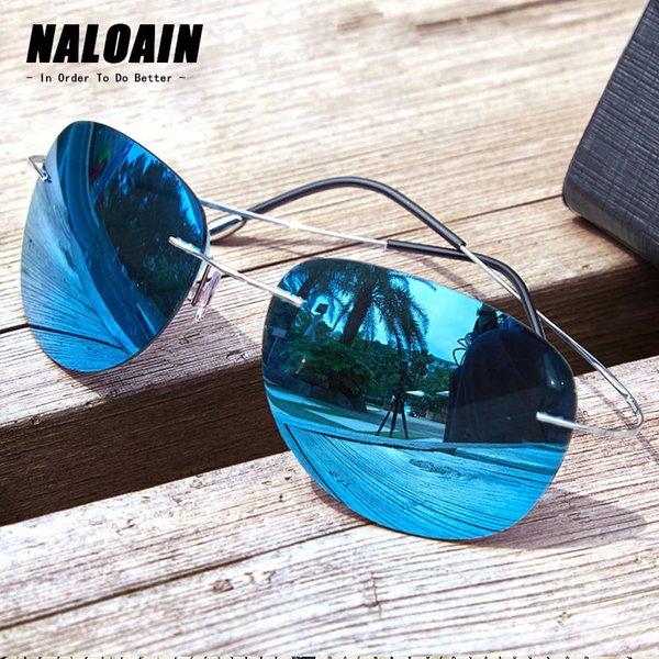 NALOAIN Sonnenbrille polarisierte Mirrored UV400 Objektiv-Titan Rahmen Randlos Leichte Sonnenbrillen für Männer Frauen Fahren Angeln T200106
