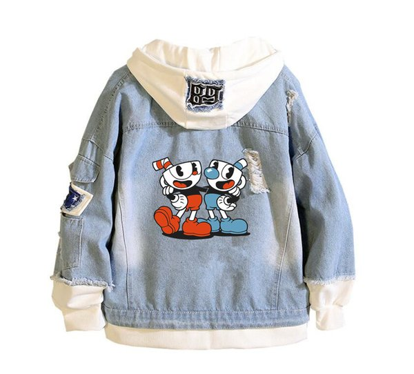 men's 2019 new cuphead mugman printing denim jacket casual bomber coat hip hop retro hoodie jacket streetwear
