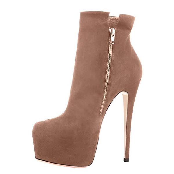 Arden Furtado 2019 printemps plate-forme fermeture à glissière escarpins sexy chaussures de soirée 16cm chaussures de soirée à bout rond rouge royalblue marron bottines 43 45