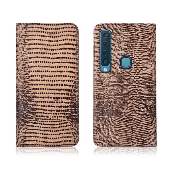 Custodia in vera pelle con motivo a lucertola con slot per schede per Samsung Galaxy A9 2018 Custodia a conchiglia in silicone per Samsung Galaxy A9S con supporto a vibrazione per cavalletto