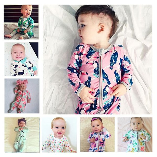 Baby romper 16 styles baby girls boys romper suits kids ins cartoon flower long sleeve zipper rompers baby clothing 0-3 years FJ91