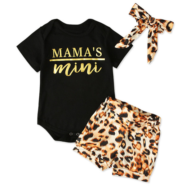 Baby-Kleidung Sets Strampler Leopard Stirnband Brief Druck-Knopf-neugeborene Kind-Overall Playsuit Sommer Dreiteilige
