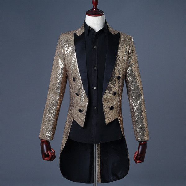 Magician Sequins Tuxedo Men's Stage Wear Conductor Coats Solid Blue Red Black Gold Mens Suits Blazers Jacket
