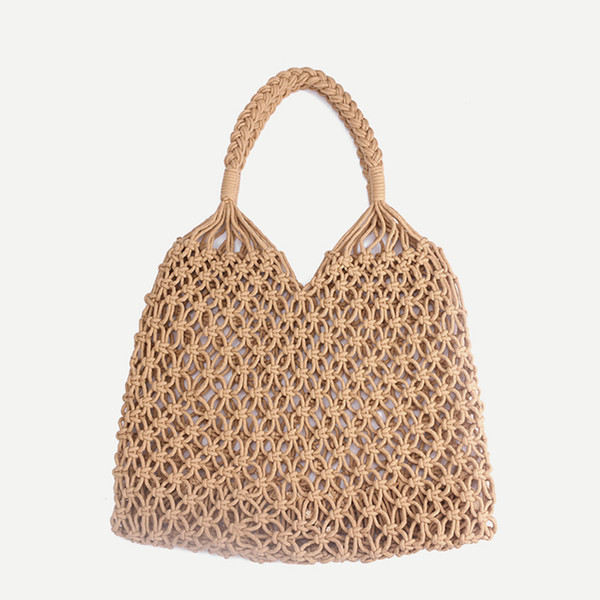 top popular Fashion Beach Woven Bag Mesh Rope Weaving Tie Buckle Reticulate Hollow Straw Bag No Lined Net Shoulder Bag RRA654 2019