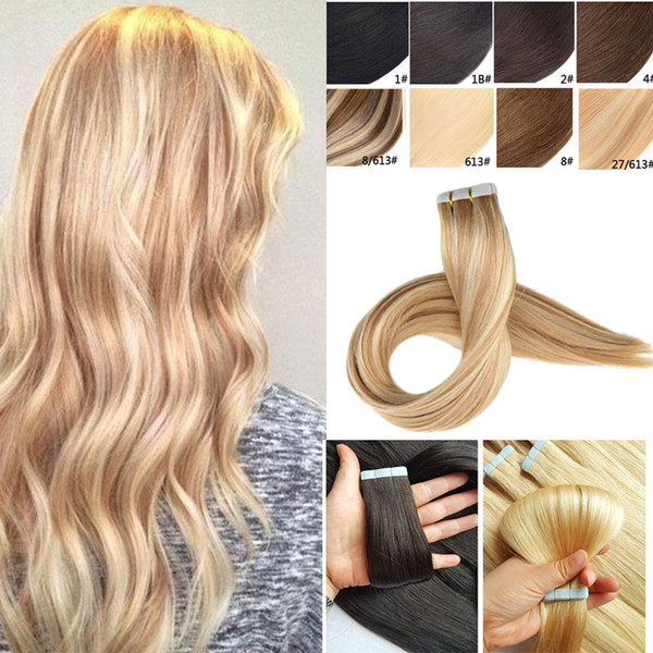 Tape in Hair Extensions Silky Straight Skin Weft Remy Human Hair Professional Tape on Hair Extensions 14-24 INCH