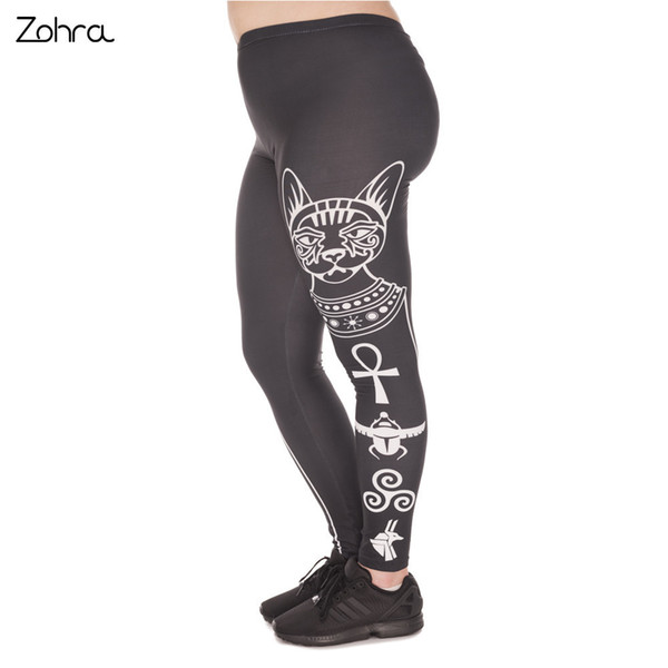 Zohra Hot S Large Size Leggings Egyptian Cat Printed High Waist Leggins Plus Size Trousers Stretch Pants For Plump Women C19041001