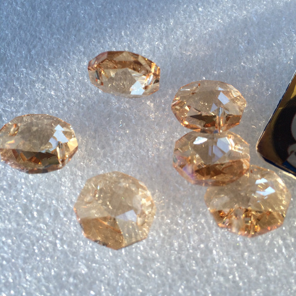 Cam Perde Boncuk Avize Parçaları Kaynaklarının 2 delik Ücretsiz Kargo 500pcs / lot 14mm Champange Kristal Sekizgen boncuk